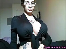 Huge tits girl fucks with sexy glasses teases
