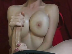 Monster black Cock and Jizz on GFs Huge Tits