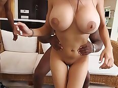 Busty muslim girl with huge natural boobs gets fucked by two black guys.